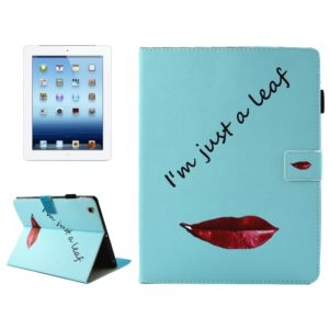 For iPad 4 / 3 / 2 Lips and Leaves Pattern Horizontal Flip Leather Case with Holder & Wallet & Card Slots & Sleep / Wake-up Function & Pen Slot