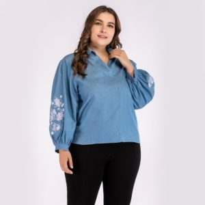 Plus Size Women Printed Embroidered V-Neck Denim Long Sleeve Blouse (Color:Blue Size:XXXXL)