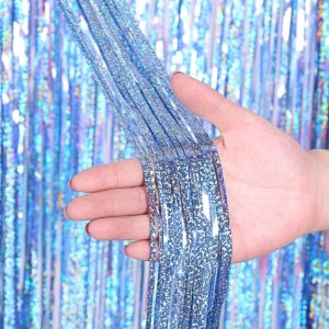 2 PCS Backdrop Curtains Glitter Gold Tinsel Fringe Foil Curtain Birthday Wedding Decoration Adult Anniversary Decor, Size:1*1m(Light blue)