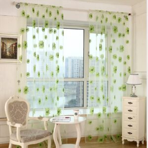 2 PCS Sunflower Voile Curtain Kitchen Balcony Curtains for Living Room Decoration, Size:1x2m Rod Processing(Green Sun flower)