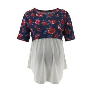 Short Sleeve Splicing Floral Print T-shirt Pregnant Nursing Clothes, Size:M(Dark Blue)