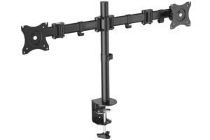DIGITUS Universal Dual Monitor stand with clamp attachment, Black (DA-90349)