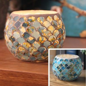 Mosaic Glass Candlestick Retro Ornaments Gift Bar Candle Cup Home Accessories(Blue Fish Scale)