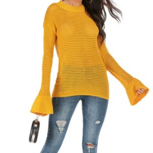 Women Round Neck Hollow Trumpet Sleeve Sweater, Size: L(Yellow )
