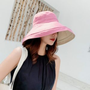 Pink Cotton Double-sided Wearable Big Eaves Sun-proof Fisherman Hat, Specification:Children s Models 50-54cm