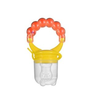 3 PCS Baby Nipple Fresh Food Fruit Milk Feeding Bottles Learn Feeding Drinking Handle Teething Pacifier with Bell, Size:M(Orange)