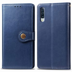 For Galaxy A90 5G Retro Solid Color Leather Buckle Mobile Phone Protection Leather Case with Photo Frame & Card Slot & Wallet & Bracket Function(Blue)
