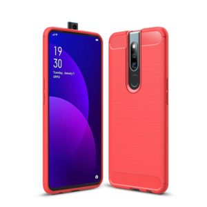 Brushed Texture Carbon Fiber Shockproof TPU Case for OPPO F11 Pro (Red)