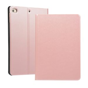 Solid Color Elastic Holster Horizontal Flip Leather Case for iPad mini 4 / mini 5, with Holder & Sleep / Wake-up Function(Rose Gold)