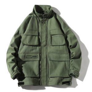 Trend Multi-pockets Top Loose Coat Simple Casual Jacket for Men (Color:Green Size:XXXL)