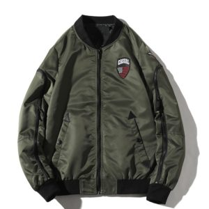 Leisure Air Force Baseball Collar Blazer Jacket for Men (Color:Army Green Size:L)