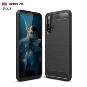 Brushed Texture Carbon Fiber TPU Case for Huawei Honor 20(Black)