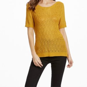 Summer Hollow Hooded Short-sleeved Sweater T-shirt, Size: M(Yellow )