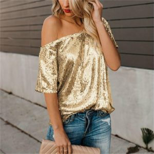 Short-Sleeved Solid Color Sequins Word Shoulder Shirt for Women, Size: M(Gold)