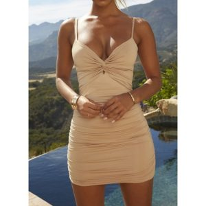 Low-cut Deep V-folded Sling Openwork Hip Dress (Color:Apricot Size:M)