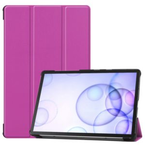 Custer Texture Horizontal Flip Leather Case with Three-folding Holder & Sleep / Wake-up Function for Galaxy Tab S6 T860 / T865(Purple)