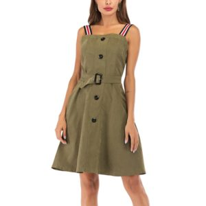Sling off-the-shoulder Tube Top Single-breasted Belt Ladies A-line C (Color:Army Green Size:XL)