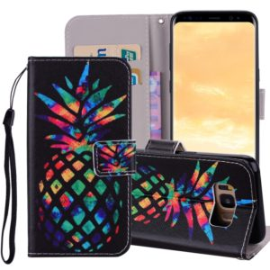 Colored Pineapple Pattern Colored Drawing Horizontal Flip Leather Case for Galaxy S8, with Holder & Card Slots & Wallet & Lanyard