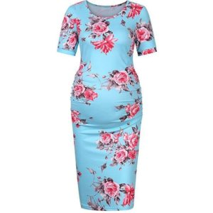Round Neck Short Sleeve Solid Color Maternity Dress (Color:Baby Blue Size:L)