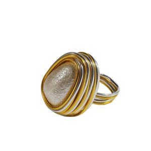 Boho Style Handmade Champagne Crystal Rings Women Fashion Jewelry Wire Helical Wound Beads Finger Ring, Ring Size:7(Style7)