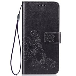 Four-leaf Clasp Embossed Buckle Mobile Phone Protection Leather Case with Lanyard & Card Slot & Wallet & Bracket Function for Vivo X27(Black)