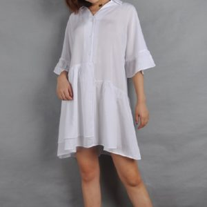 Simple Loose Women Dress Shirt (Color:White Size:L)