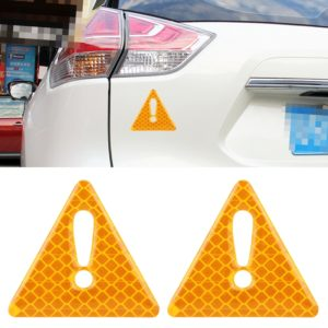 2 PCS Car-Styling Triangle Carbon Fiber Warning Sticker Decorative Sticker(Yellow)
