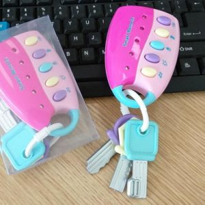 Car Remote key Model Infant Puzzle Early Education Music Key Toy(Pink)