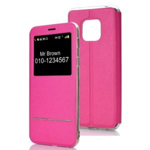Horizontal Flip Leather Case for Huawei Mate 20 Pro, with Holder & Call Display ID (Magenta)