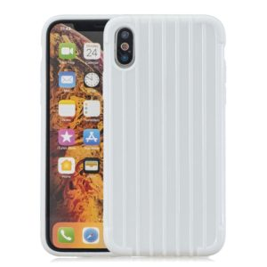 Suitcase Style Striped Soft TPU Case for iPhone XS Max(White)