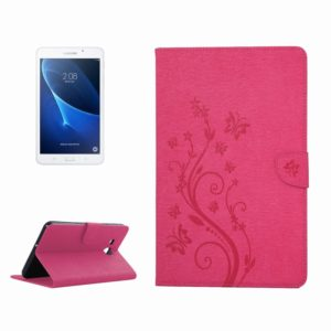 For Galaxy Tab A 7.0 Pressed Flowers Butterfly Pattern Horizontal Flip PU Leather Case with Magnetic Buckle & Holder & Card Slots & Wallet(Magenta)