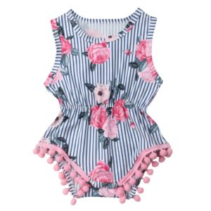 Summer Girls Rose Flower Print Stitching Striped Sleeveless Jumpsuit Romper, Kid Size: 100CM(Colorful)