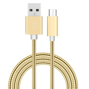 1m Micro USB to USB 2.0 Flexible Metal Data Sync Charging Cable , For Samsung, Huawei, Xiaomi, LG, HTC and other Smartphones(Gold)