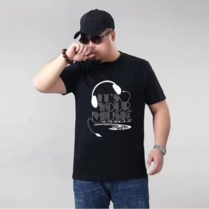 Plus Fat Plus Size Cotton Short-sleeved Men T-shirt (Color:Black Size:XXXXXL)