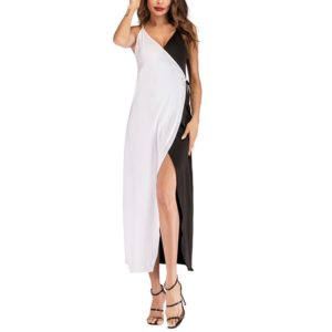 Women Sexy Color Matching Strap Dress, Size: M(Black and White)