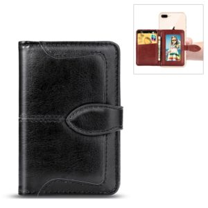 Mobile Phone Universal With Retro Pure Color Card Slot & Wallet & Holder & Photo Frame (Black)