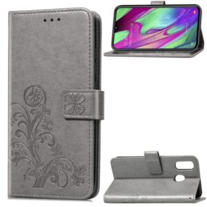 Lucky Clover Pressed Flowers Pattern Leather Case for Galaxy A40, with Holder & Card Slots & Wallet & Hand Strap (Grey)