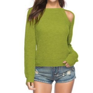 Women Sexy Leaky Shoulder Round Neck Sweater, Size: L(Green)