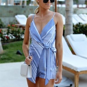 Striped Print Jumpsuit (Color:Blue Size:M)
