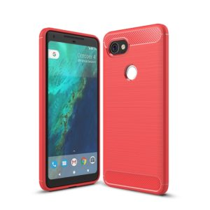 For Google Pixei 2 XL Brushed Texture Carbon Fiber Shockproof TPU Rugged Armor Protective Case(Red)