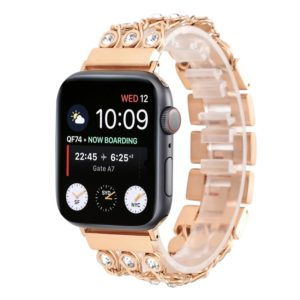 Cowboy Chain with White Diamond Watch Strap for Apple Watch Series 5 & 4 & 3 & 2 & 1 38mm & 40mm(Rose Gold)