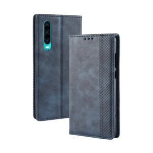 Magnetic Buckle Retro Crazy Horse Texture Horizontal Flip Leather Case for Huawei P30, with Holder & Card Slots & Photo Frame(Blue)