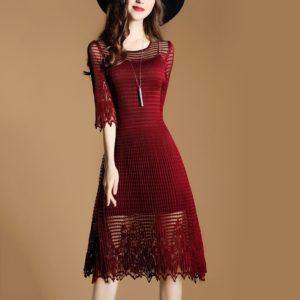 Commuting Crimped Slim Thin Dress A Word(Color:Wine red Size:One Size)