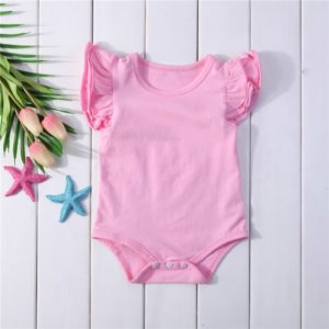 Summer Baby Cotton Ruffled Short-sleeved Round Neck Triangle Romper, Size:100cm(Pink)