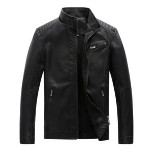 Men Casual Non-iron Stand Collar PU Leather Jacket(Color:Black Size:XXL)