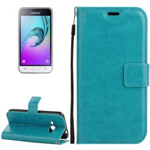 For Galaxy J1 (2016) Crazy Horse Texture Horizontal Flip PU Leather Case with Holder & Card Slots & Wallet & Lanyard(Blue)