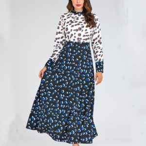 Stand-up Collar Print Waist Slim Dress (Color:As Show Size:L)