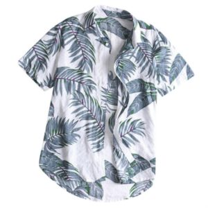 Cotton Casual Beach Holiday Print Shirt for Men, Size:M(Gray)