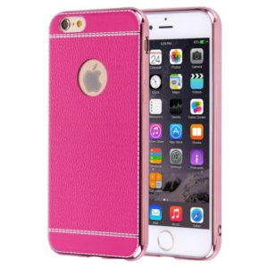 For iPhone 6 Plus & 6s Plus 3D Litchi Texture Soft TPU Protective Case(Magenta)