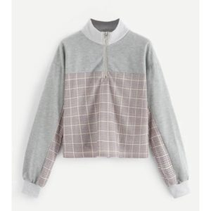 Plaid Stitching Short Ring Women Sweatshirt (Color:Grey Size:XL)